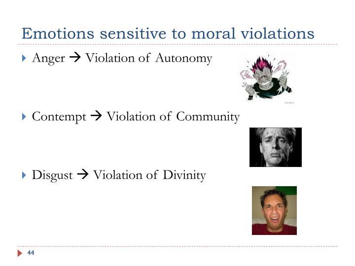 Emotions sensitive to moral violations