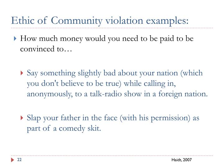 Ethic of Community violation examples: