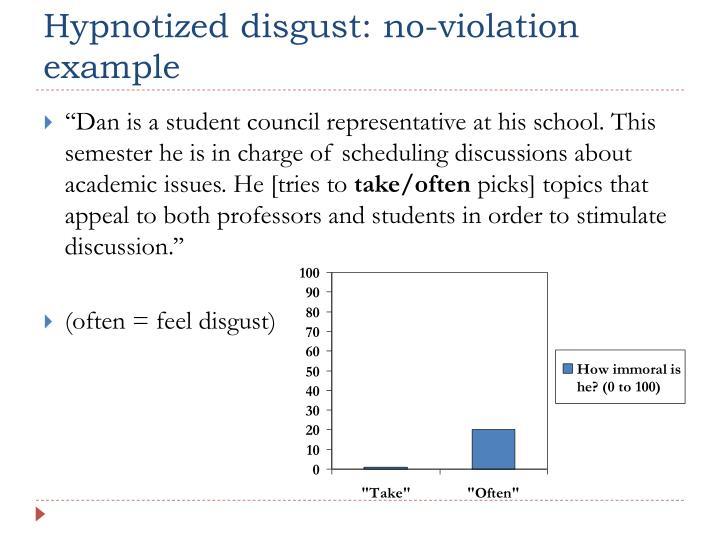 Hypnotized disgust: no-violation example