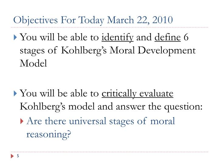 Objectives For Today March 22, 2010