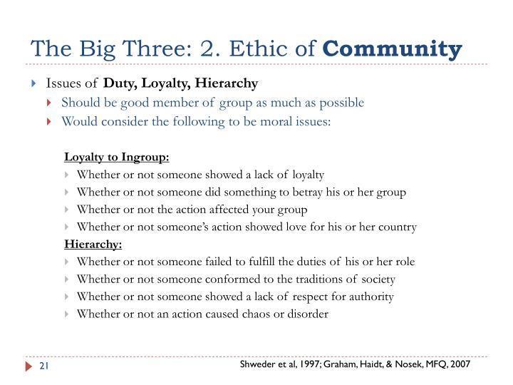 The Big Three: 2. Ethic of