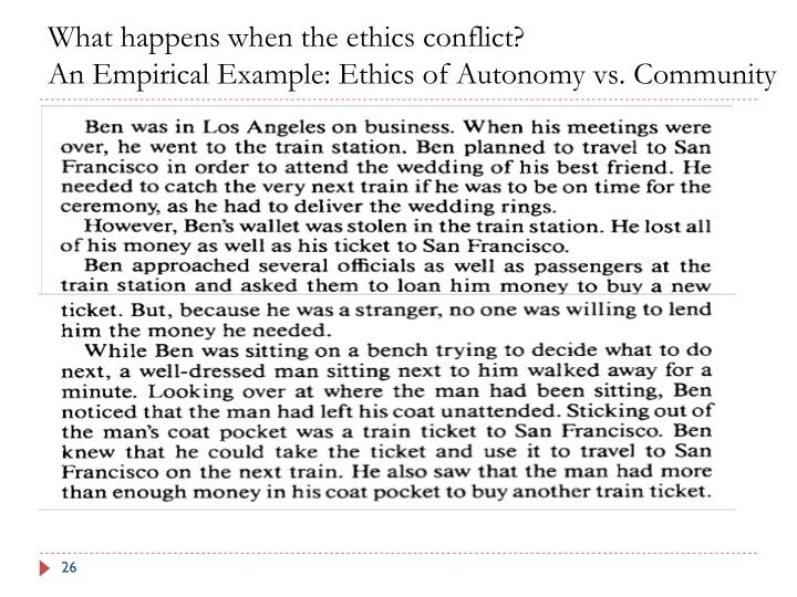 What happens when the ethics conflict?