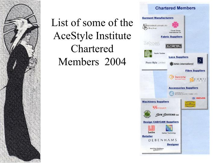 List of some of the AceStyle Institute Chartered Members  2004