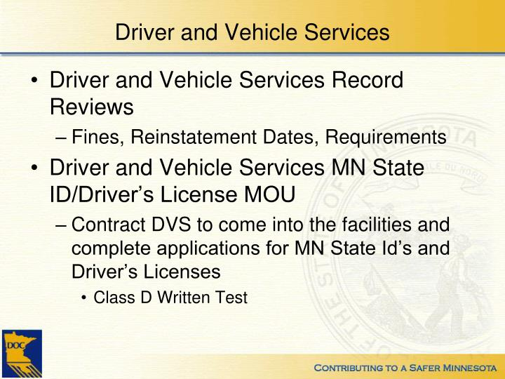 Driver and Vehicle Services