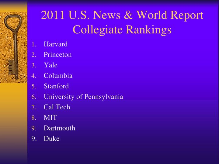 2011 u s news world report collegiate rankings