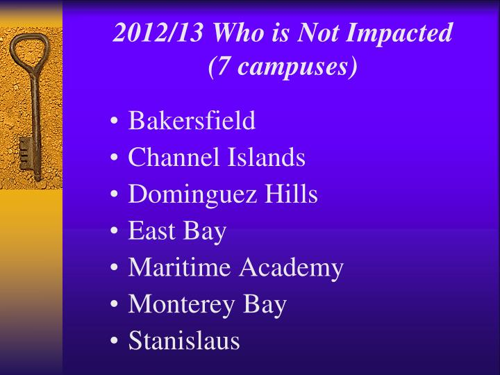 2012/13 Who is Not Impacted