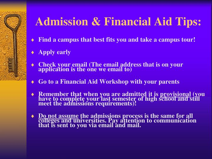 Admission & Financial Aid Tips: