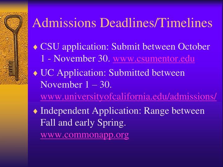 Admissions Deadlines/Timelines