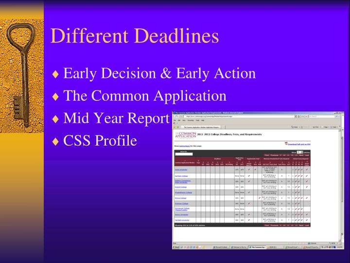 Different Deadlines