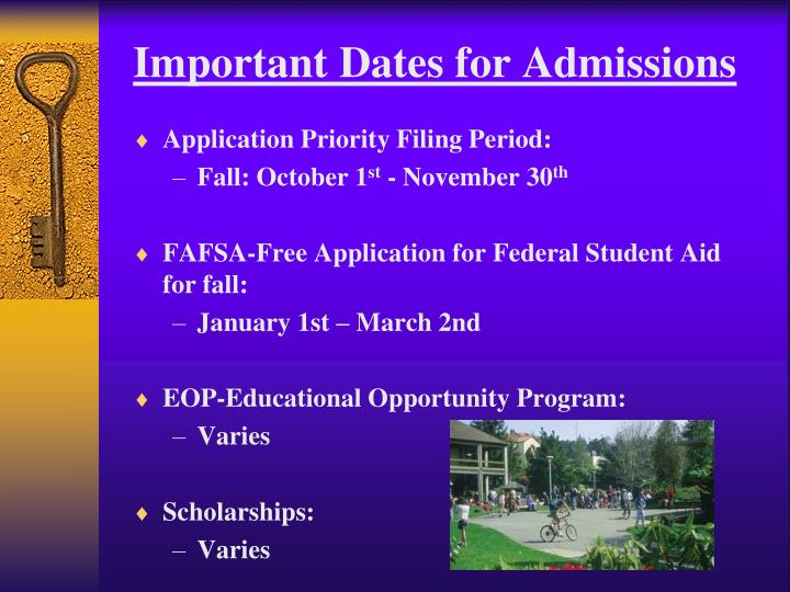 Important Dates for Admissions