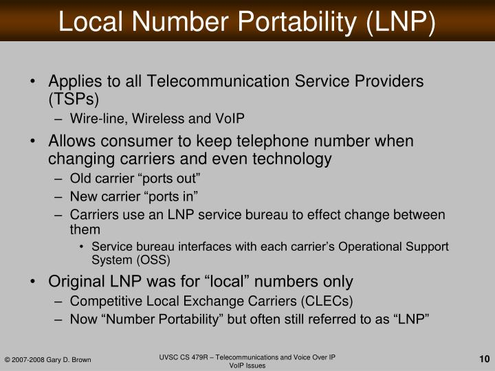 Local Number Portability (LNP)