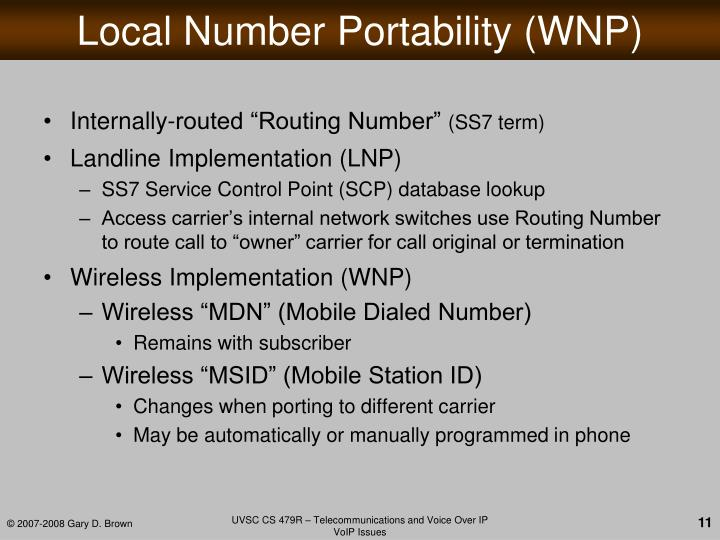 Local Number Portability (WNP)