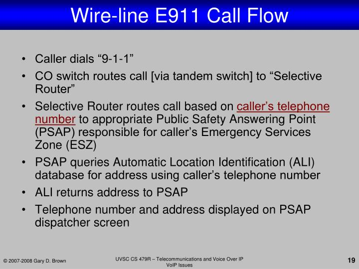 Wire-line E911 Call Flow