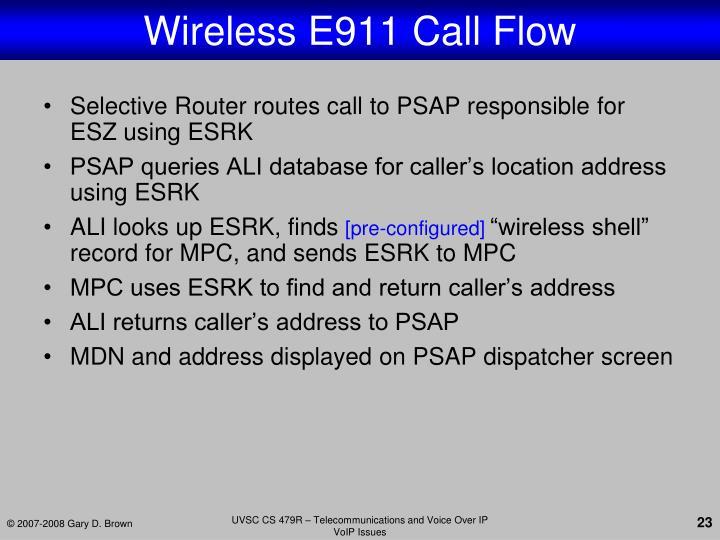 Wireless E911 Call Flow