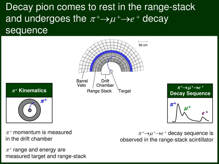 Decay pion comes to rest in the range-stack and undergoes the