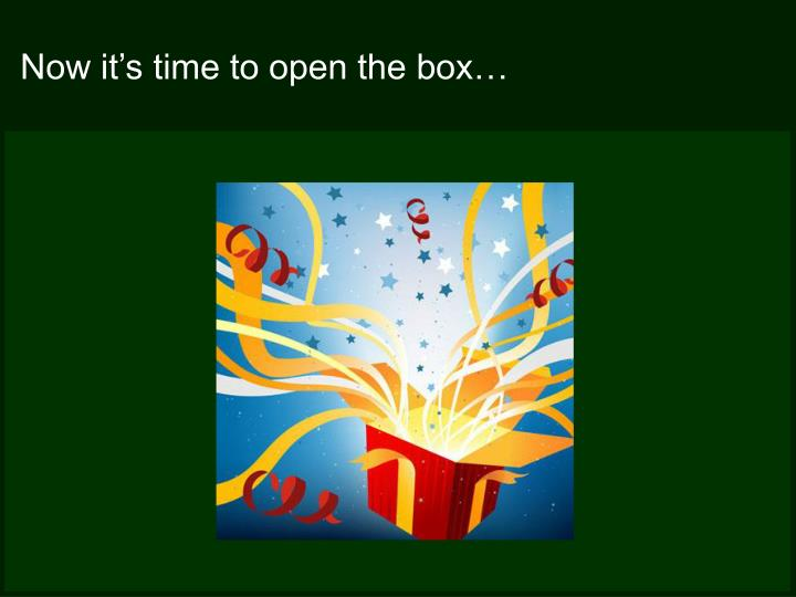 Now it's time to open the box…