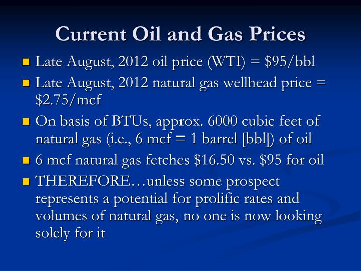 Current oil and gas prices