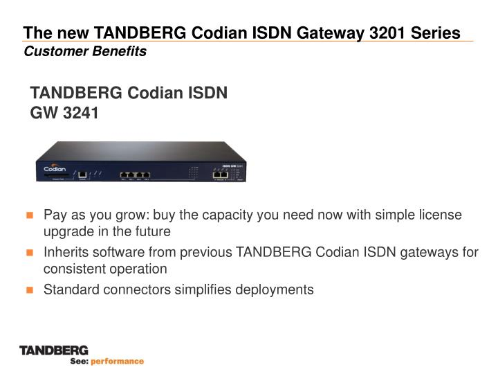 The new tandberg codian isdn gateway 3201 series customer benefits