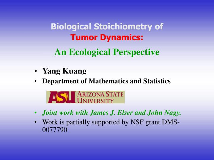 biological stoichiometry of tumor dynamics an ecological perspective n.