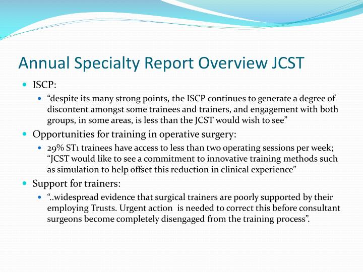 Annual Specialty Report Overview JCST