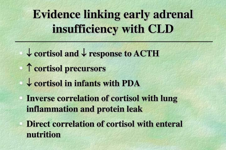 Evidence linking early adrenal insufficiency with CLD