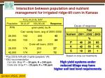 interaction between population and nutrient management for irrigated ridge till corn in kansas