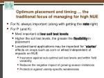 optimum placement and timing the traditional focus of managing for high nue