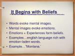 it begins with beliefs