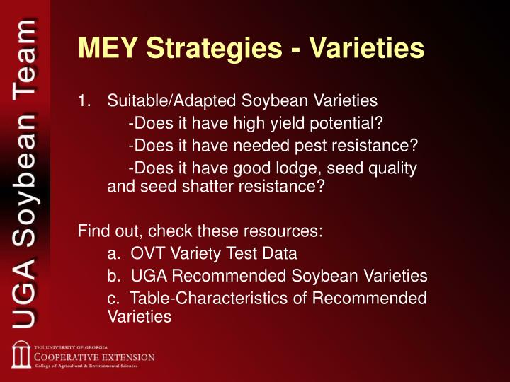 MEY Strategies - Varieties