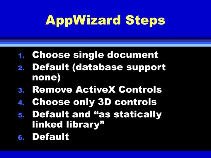 AppWizard Steps