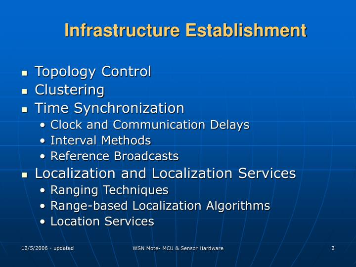 Infrastructure establishment