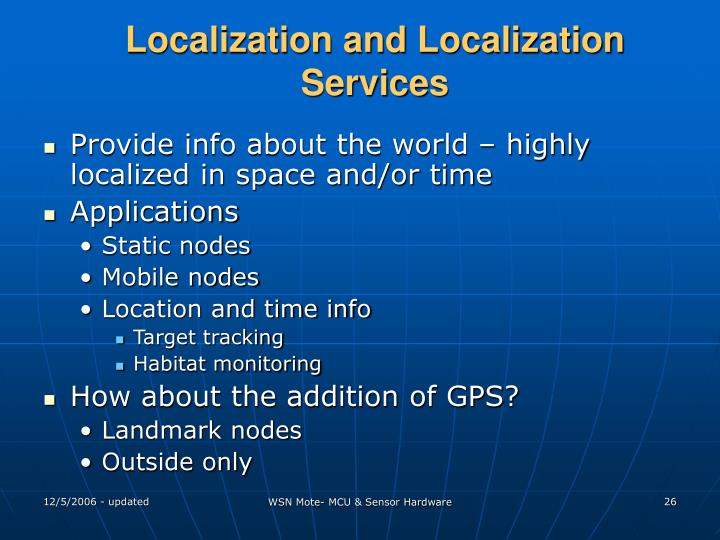 Localization and Localization Services