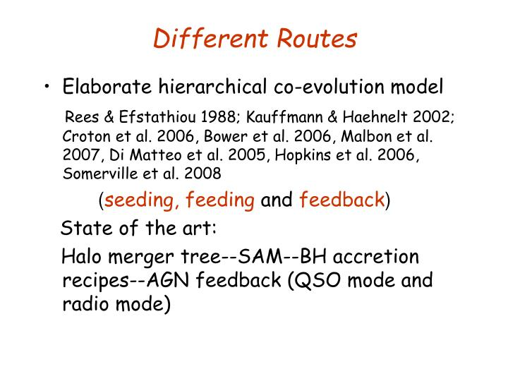 Different Routes