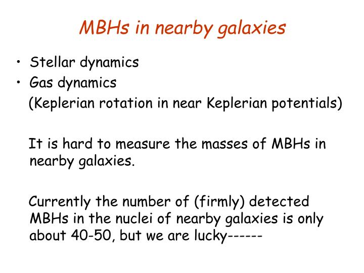 MBHs in nearby galaxies