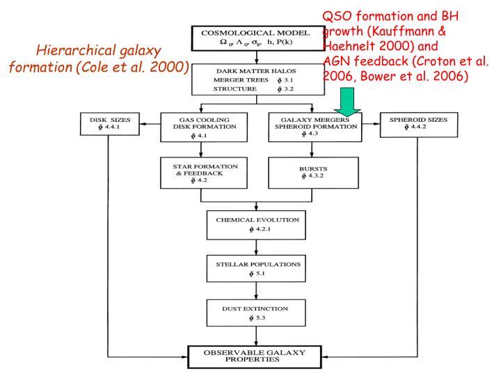 QSO formation and BH growth (Kauffmann & Haehnelt 2000) and