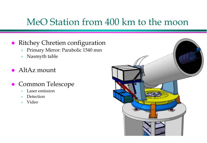 MeO Station from 400 km to the moon