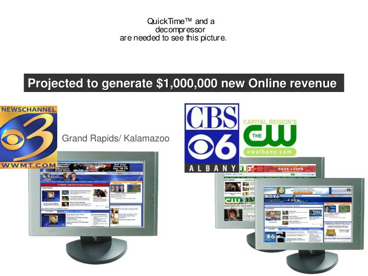 Projected to generate $1,000,000 new Online revenue