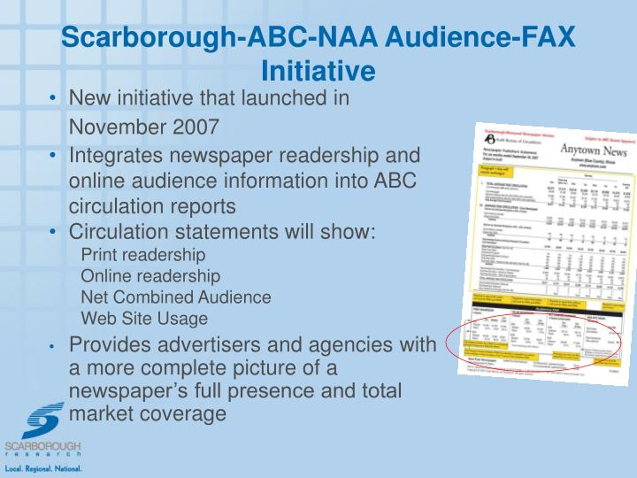 Scarborough-ABC-NAA Audience-FAX Initiative