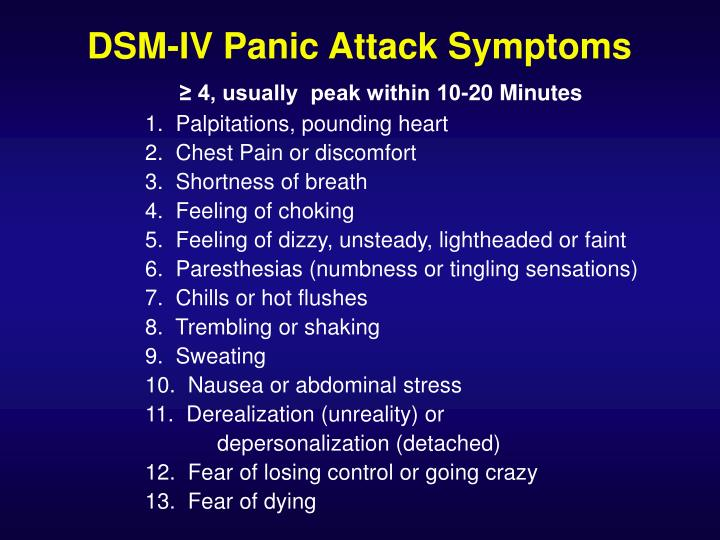 DSM-IV Panic Attack Symptoms