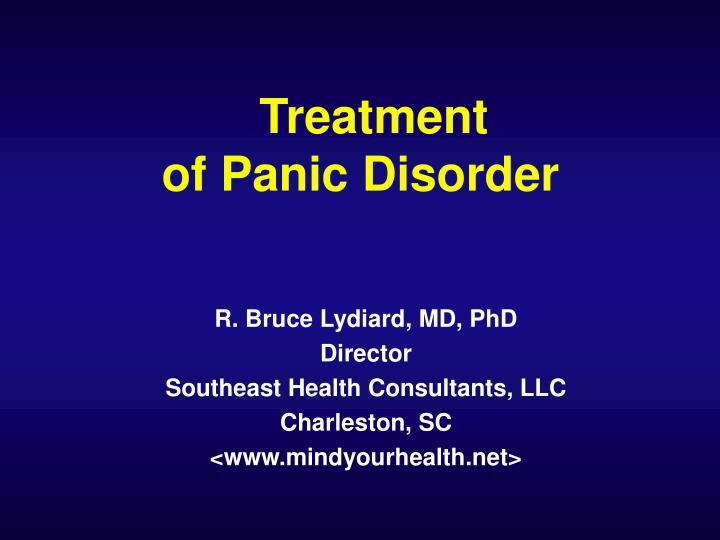 Treatment of panic disorder