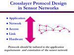crosslayer protocol design in sensor networks