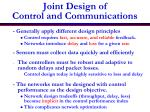 joint design of control and communications