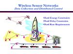 wireless sensor networks data collection and distributed control