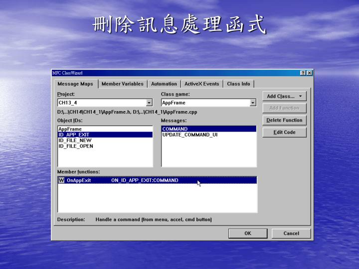 刪除訊息處理函式