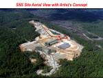 sns site aerial view with artist s concept