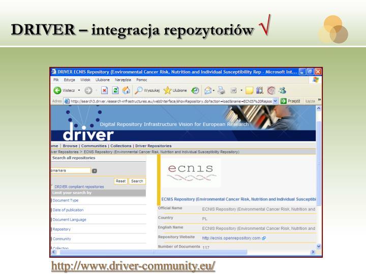 DRIVER – integracja repozytoriów