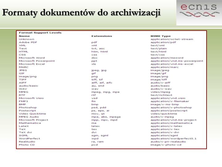 Formaty dokumentów do archiwizacji