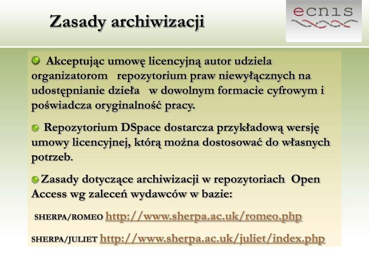 Zasady archiwizacji