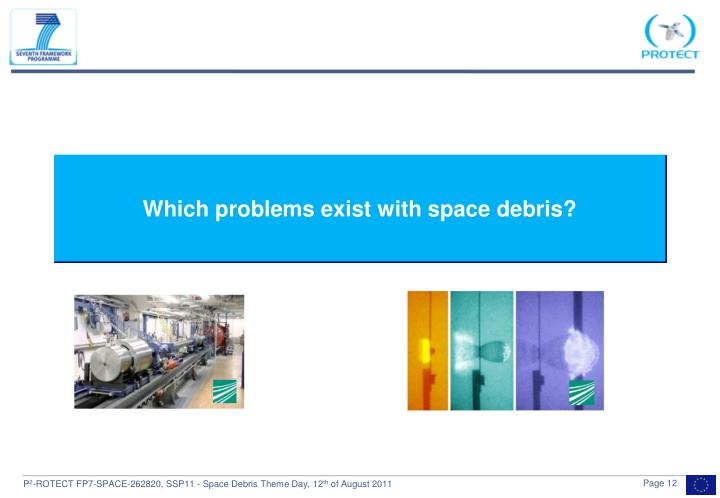 Which problems exist with space debris?