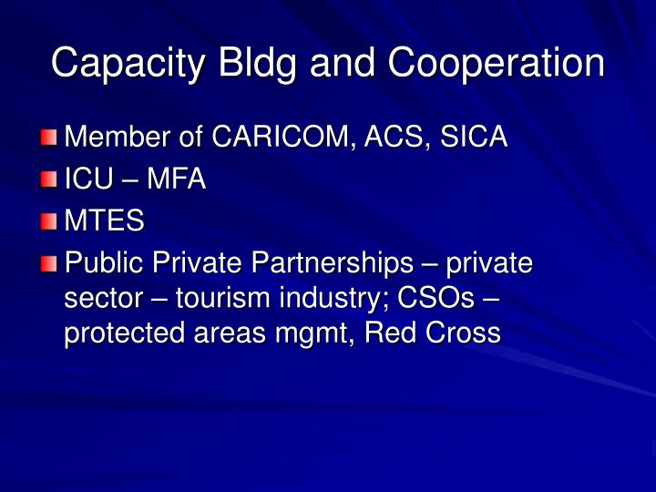 Capacity Bldg and Cooperation
